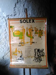 "Solex ""carburateur"" old promotional poster 1950"