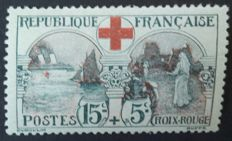 France 1918 - Croix-Rouge,  15c. + 5c. black and red, signed Calves with a digital certificate - Yvert no. 156