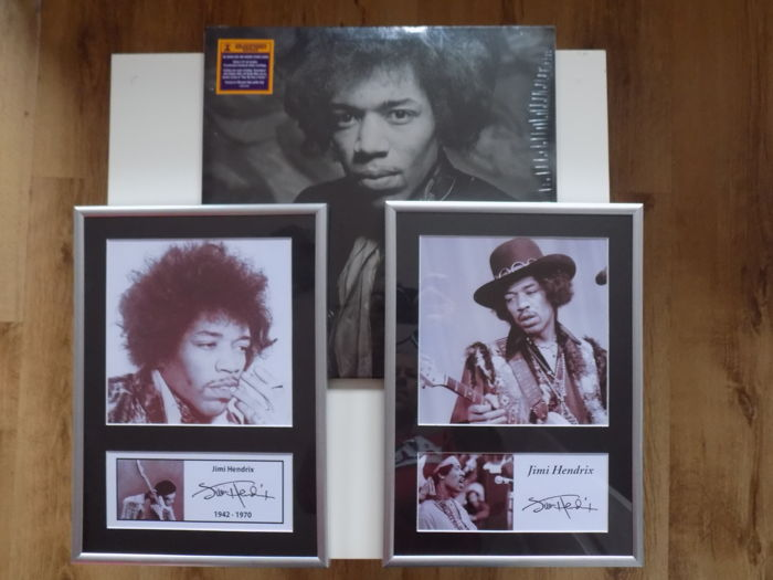 "Jimi Hendrix "" People , Hell And Angels "" Double LP & 2 framed photographs with printed signatures."