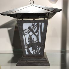 Art Nouveau lantern - depicting a dragonfly and a butterfly