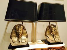 In the style of DeKnudt - Set of Tutankhamun brass lamps