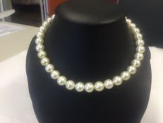 Exclusive large pearl necklace made of 13-17 mm white Australian South Sea cultured pearls and 18 kt gold * NO RESERVE *