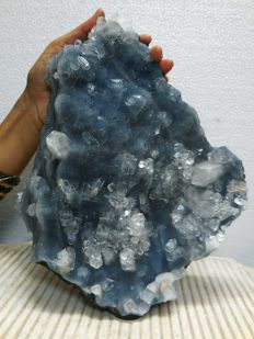 Transparent cut point apophyllite crystals sprinkled on deep sky blue  chalcedony mountain - 28 x 22 cm - 3800 gms