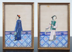 Set of 2 gouache paintings on rice paper - China - 19th century