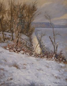 "Chris van Dijk  (1952)  -   ""Winter landscape with a ditch""."