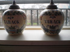 2 tobacco jars, 20th century