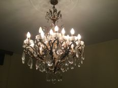 Crystal glass chandelier, mid-20th century