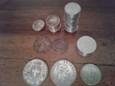 Kingdom of Italy - 5 Lira 1873 and 1876 + other coins
