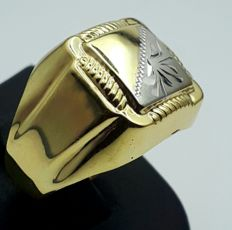14 Ct Yellow & White  Gold Men's Ring,  size:21mm, Total 4.00 gr