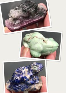 3 Frogs of i.a. chrysoprase - ruby - lapis - 5.2 to 5.5 cm - 164 g (3)