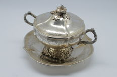 France - beautiful decorated sterling silver sugar bowl (?) on its tray - Silversmith Alexandre-Auguste Turquet - France 19th century