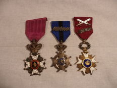 Set of 3 Belgian ww1 knight's cross medals