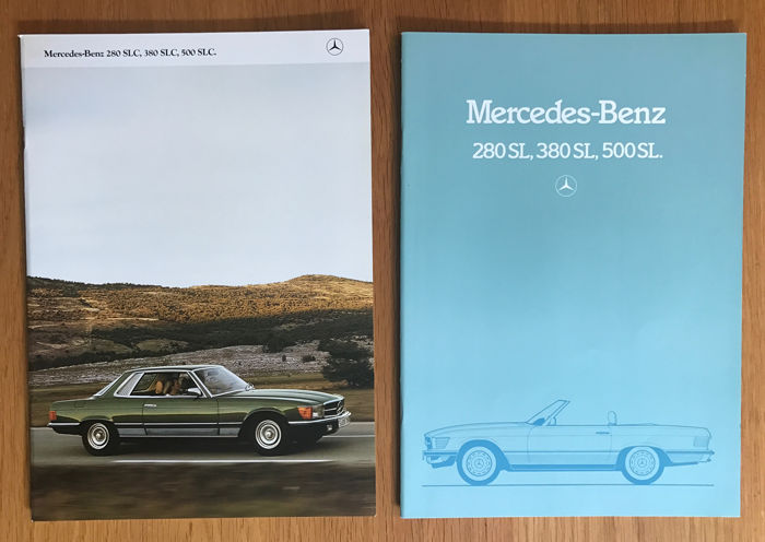 2 mercedes benz 280 sl 380 sl 500 sl brochures german for Mercedes benz text