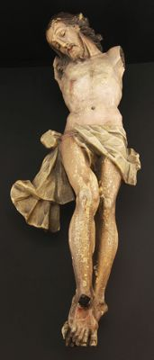 Large polychrome wooden sculpture of dying Christ - Italian school - 18th century