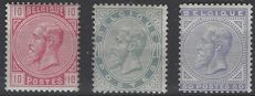 Belgium 1883 - King Leopold II - OBP numbers 38, 39 and 41