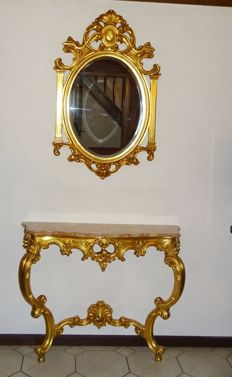 Large gold-plated French Rococo mirror of facet-cut glass - console table with marble top - gold-plated redwood, 20th century