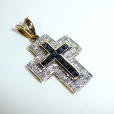 14 kt / 585 gold pendant cross with 26 diamonds + 11 sapphires like new