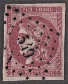 France 1870 - 80 cents pink nice shade to study, cancelled with small number 549 - Yvert no. 49