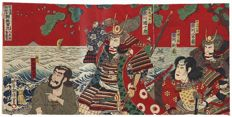 "Originele drieluik houtsnede van Utagawa Kunisada III (1848-1920) - ""Chronicle of the Korean war"" Japan - 1891"