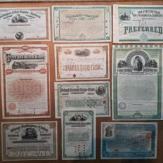 10  classic USA railroad shares and bonds from the  era 1885-1899