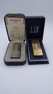 Two Dunhill lighters - with box and papers