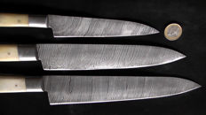 Set of three handcrafted Damask knives - handle made from camel bone - 200 + layers damask steel