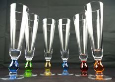 Set of 6 glasses made of cut and chiselled glass in various colours