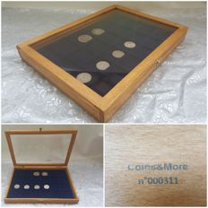 Coin display box, handmade with Plexiglas lid and flocked blue tray for coins, by Coins & More Numismatics