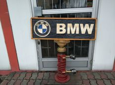 BMW  Unique xl logo carved in wood - 101 x 34 cm