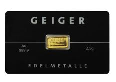 "Germany: 2.5 g gold bar Geiger Edelmetalle ""Güldengossa Castle"""