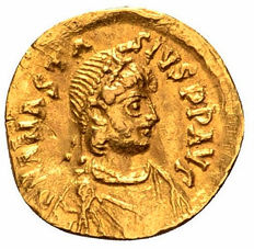 Byzantine Empire - Anastasius I AV Tremissis. Constantinople, AD 491-518.  well centered - appealing color