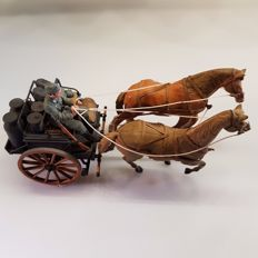 Scale model military horse and carriage WW II