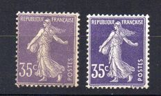 France 1906/07 - Semeuse 35 cents light violet and 35 cents violet - Yvert no. 136 and 142
