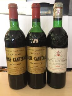 2x 1969 Chateau Brane-Cantenac, Margaux Grand Cru Classé & 1979 Chateau Pape-Clement, Graves Grand Cru Classé - 3 bottles in TOTAL