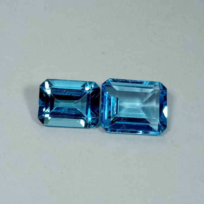 Pair of Swiss Blue Topaz - 6.77 ct
