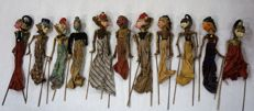 Wayang golek puppets, 11 pieces - Java, Indonesia - mid 20th century