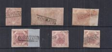 Naples 1858 - 1, 2, 20 Grana stamp - Sassone No.  3, 5, 7, 12
