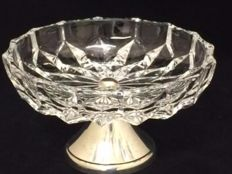 Crystal chocolate dish with silver plated base