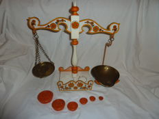 Set Of Decorated Orange & White Painted Scales & Weights