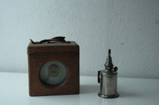 French old pigeon clock toulet imperator. with old French oil lamp - pigeon