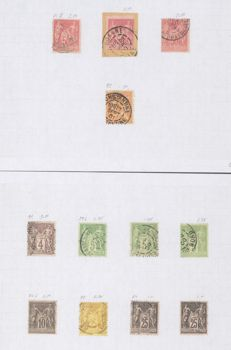 France 1870/1900 - lot of stamps and letter - Sage type - Yvert 61/106 with missing