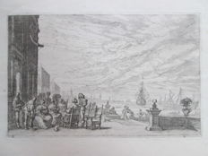 17th century etching, with a harbour view