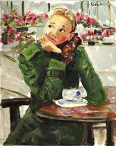 Anke Brokstra (1940-) - Girl drinking a cup of coffee