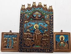 "Russian Orthodox travel icon  - Bronze casting -  ""All the Afflicted with the angels"" ~20 th century 2 small icons - 5 color enamel"