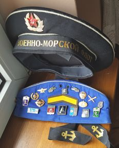Sailor cap ,Military cap with badges - all the times of communism in Russia