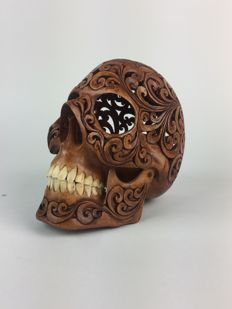 Hand carved Human skull - Tribal style carving - Octagram of Creation Gnostic Symbol - Teeth made from buffalo bone