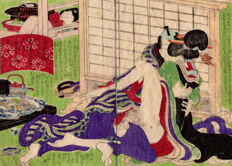 Original shunga woodblock-printed double page illustration by an unknown artist - Lovers and food - Japan - ca. 1860