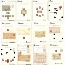 """Alsace-Lorraine 1872/1875 – Collection of cancels """"Fer à cheval"""" on 13 pages of an album"""