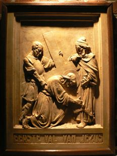 Stations of the cross, station 3, bas-relief, plaster and wood - Ghent (Belgium) - 1930.