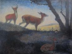 Jemmy van Hoboken (1900-1962) - Deer at the forest edge